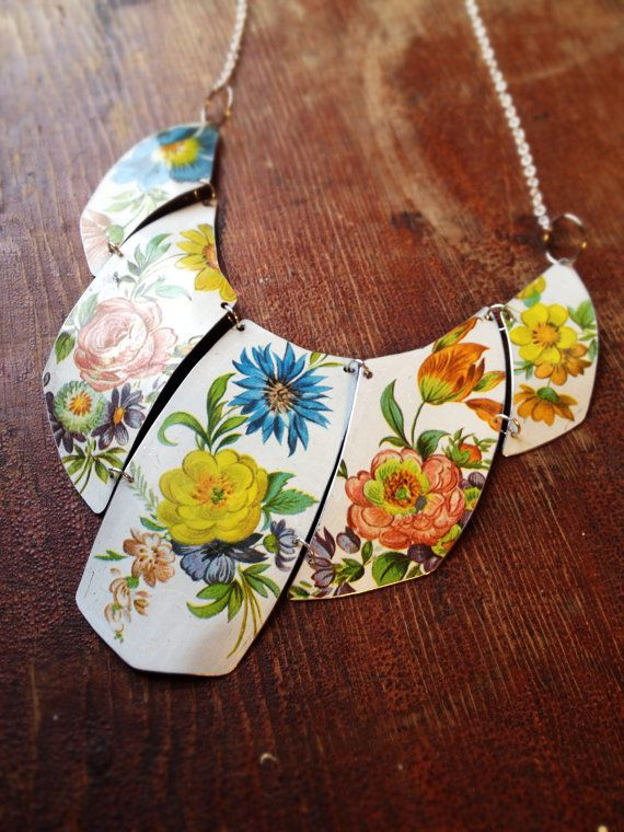 Vintage tin upcycled necklace from Cellar Door Shoppe on Etsy (sold before you get too hopeful lol)