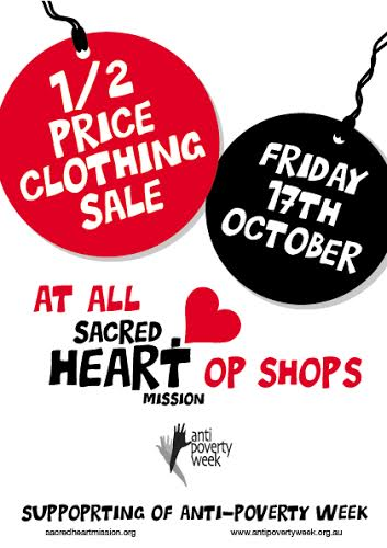 Sacred Heart Op Shops Anti Poverty Week sales and offers