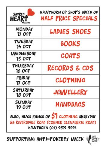 Anti Poverty Week offers at the Sacred Heart Op Shops